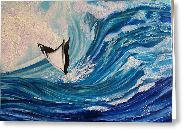 Surfing Stingray II Greeting Card by Kathern Welsh