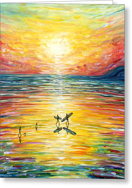 Surfing Sunset At Croyde Greeting Card
