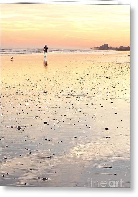 Surfing Sunset Greeting Card