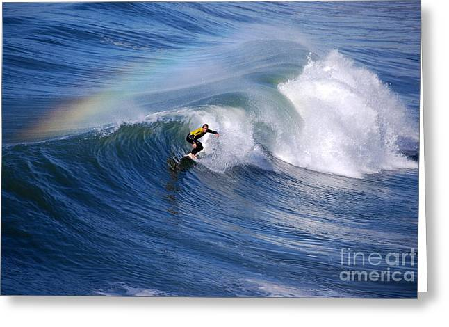 Surfing Under A Rainbow Greeting Card by Catherine Sherman