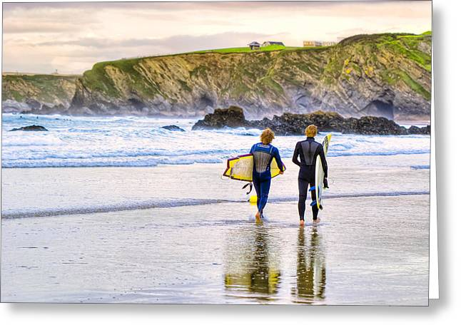 Surfing Zen - Cornish Beach In Newquay Greeting Card by Mark E Tisdale