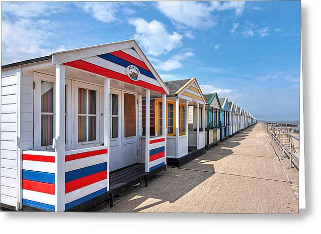 Surf's Up - Colorful Beach Huts - Square Greeting Card