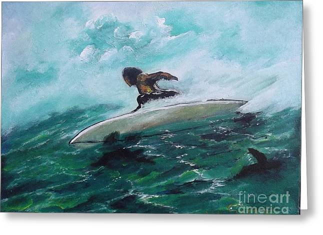 Surfs Up Greeting Card by Donna Chaasadah
