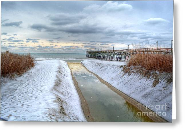 Surfside Beach Pier Ice Storm Greeting Card