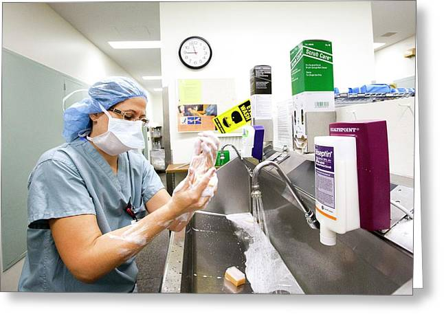 Surgeon Scrubbing Before Surgery Greeting Card by Jim West