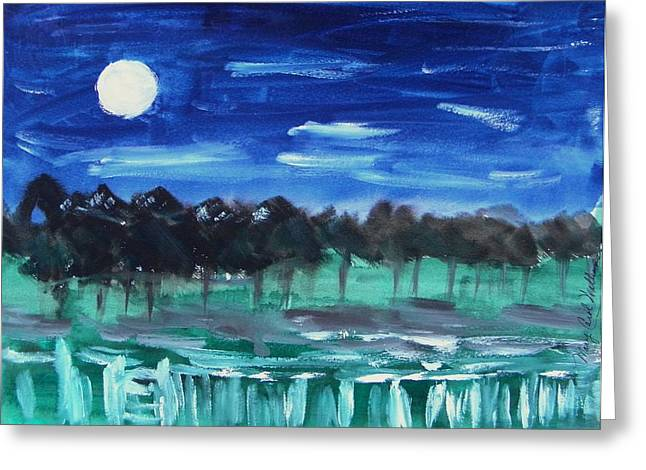 Surprise Moon Greeting Card by Mary Carol Williams