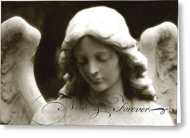 Angel Photography - Beautiful Angel Face With Inspirational Message Greeting Card by Kathy Fornal