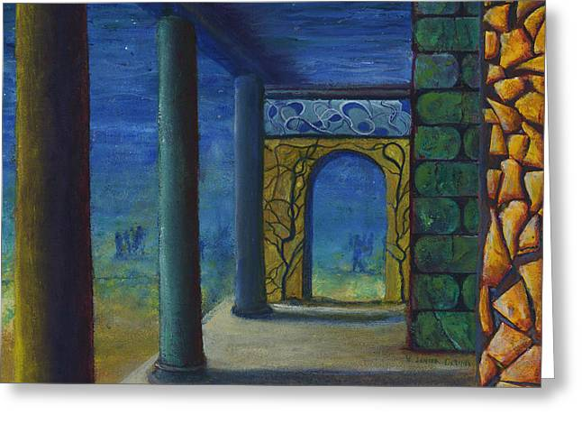 Surreal Art With Walls And Columns Greeting Card by Lenora  De Lude