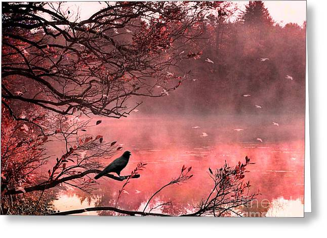 Surreal Autumn Fall Orange Nature Tree Landscape - Haunting Raven Autumn Fall Landscape Nature  Greeting Card by Kathy Fornal