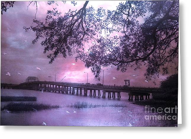 Surreal Beaufort South Carolina Nature And Bridge  Greeting Card by Kathy Fornal