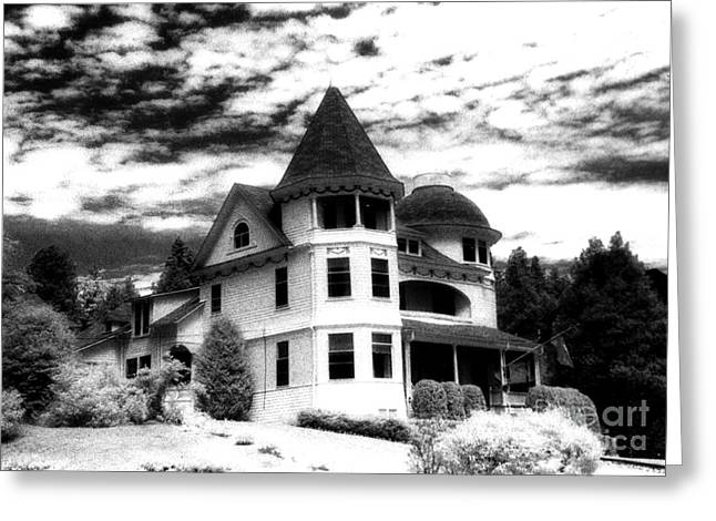 Surreal Black White Mackinac Island Michigan Home Greeting Card by Kathy Fornal