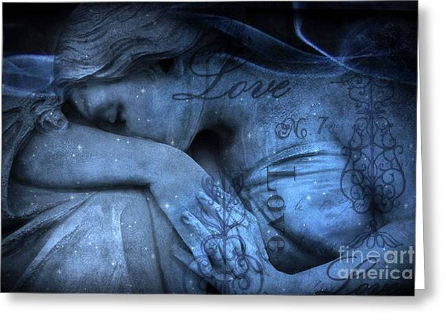 Surreal Blue Sad Mourning Weeping Angel Lost Love - Starry Blue Angel Weeping With Love Script Greeting Card by Kathy Fornal
