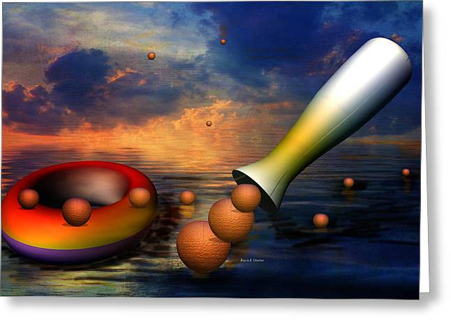 Surreal Dinner Served Over The Ocean Greeting Card by Angela A Stanton