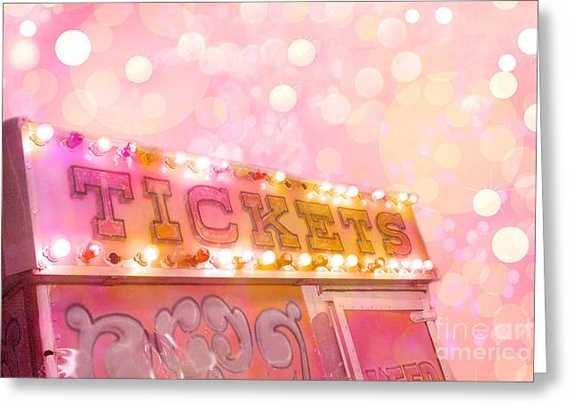 Surreal Dreamy Carnival Festival Fair Pink Ticket Booth - Whimsical Fantasy Carnival Art Greeting Card