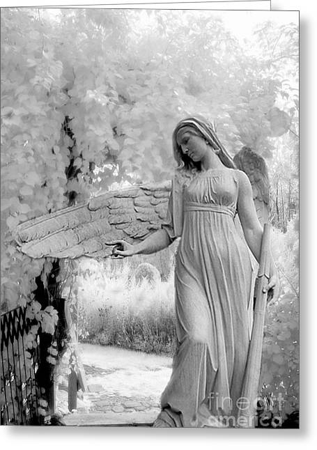 Surreal Dreamy Fantasy Infrared Angel Nature Greeting Card by Kathy Fornal