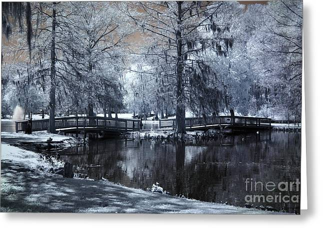 Surreal Dreamy Fantasy Nature Infrared Landscape - Edisto Park South Carolina Greeting Card by Kathy Fornal