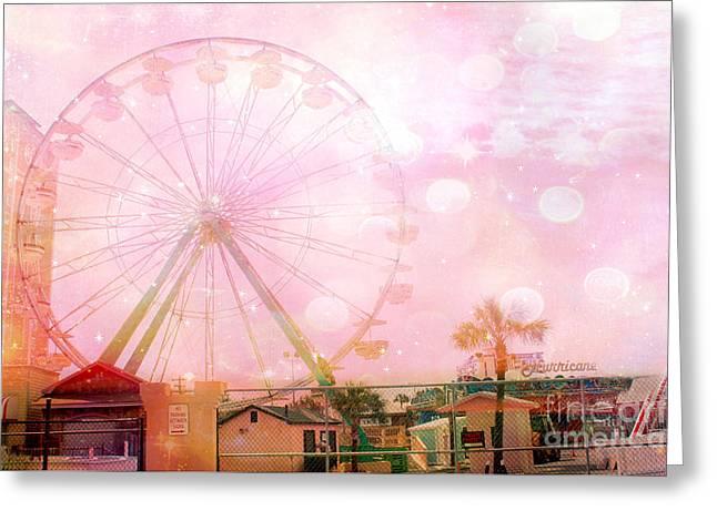 Surreal Dreamy Pink Myrtle Beach Ferris Wheel Greeting Card