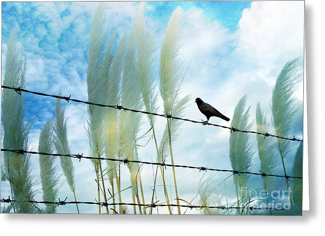 Surreal Dreamy Raven Sitting On Fence Blue Sky Greeting Card by Kathy Fornal