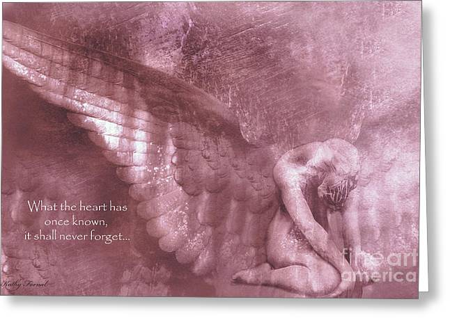 Surreal Fantasy Angel Kneeling - Ethereal Angel Art Wings With Heart Quote Greeting Card by Kathy Fornal