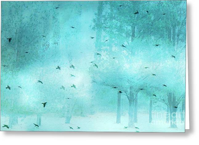 Surreal Fantasy Aqua Blue Teal Trees With Flying Birds Greeting Card