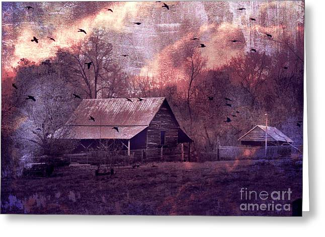 Surreal Fantasy Barn Landscape With Ravens Greeting Card by Kathy Fornal