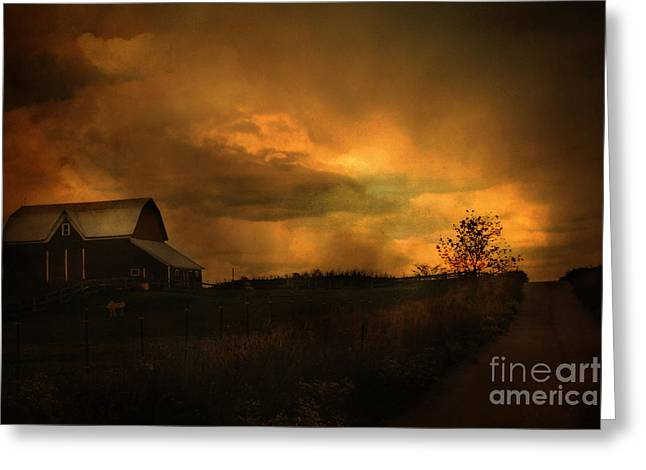 Surreal Fantasy Barn Sunset Nature Farm Landscape Greeting Card by Kathy Fornal