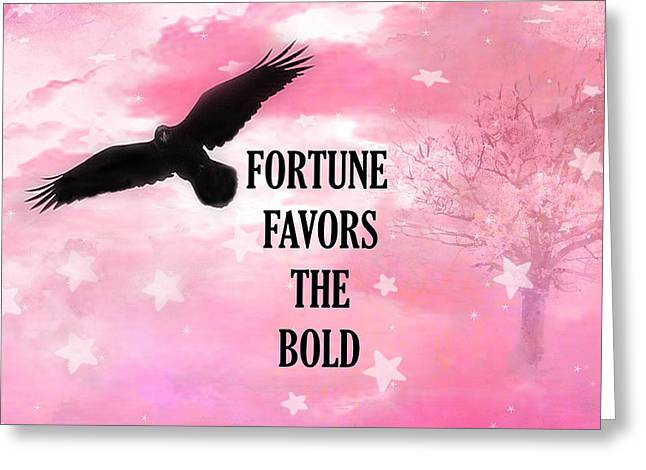 Surreal Fantasy Black Raven Crow Typography  Greeting Card by Kathy Fornal