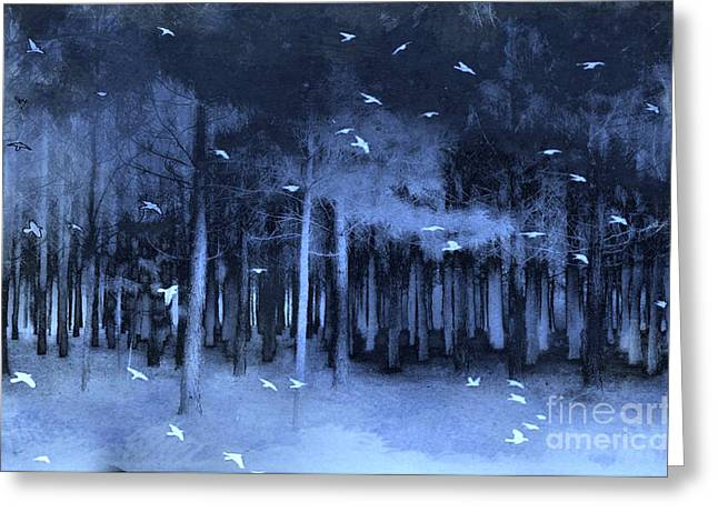 Surreal Fantasy Blue Woodlands Nature With Birds Greeting Card by Kathy Fornal