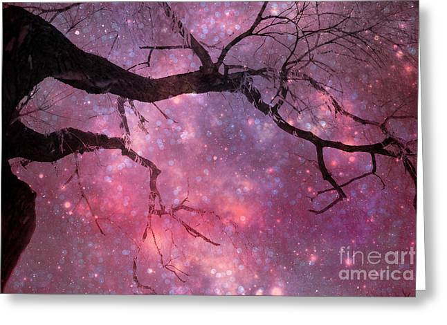 Surreal Fantasy Celestial Nature Trees Dreamscape Stars And Fairy Lights Greeting Card by Kathy Fornal
