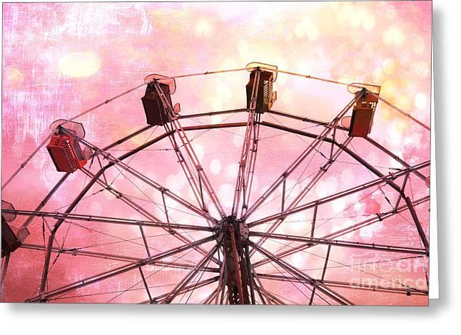 Dreamy Pink Yellow Carnival Ferris Wheel Ride - Carnival Ferris Wheel Kid's Room Decor Greeting Card