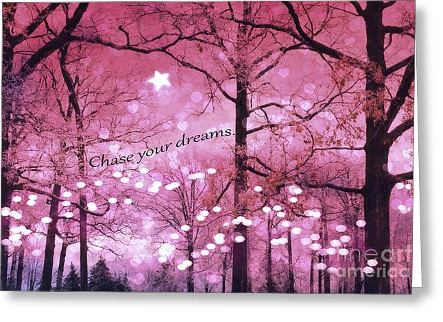 Surreal Fantasy Fairy Lights Inspirational Nature Woodlands Trees With Sparkling Lights And Stars Greeting Card