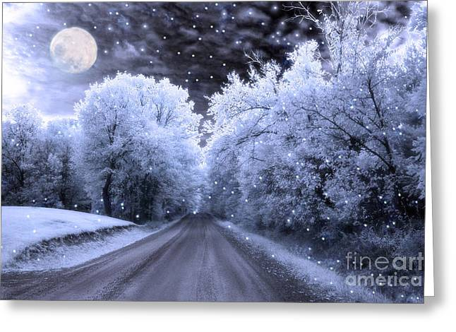 Surreal Fantasy Fairytale Blue Moon Stars Nature Greeting Card by Kathy Fornal