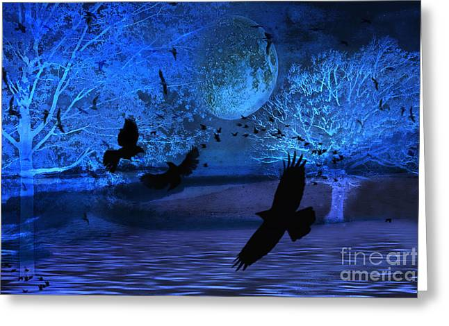 Surreal Fantasy Gothic Blue Moon With Ravens Nature Greeting Card by Kathy Fornal