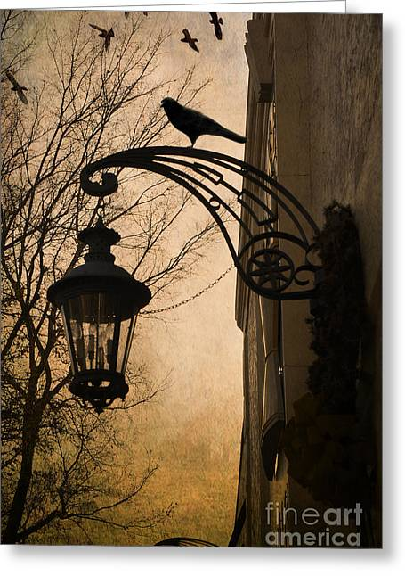 Surreal Fantasy Gothic Lantern With Ravens Greeting Card