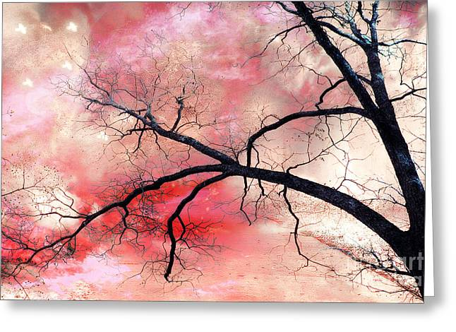 Surreal Fantasy Gothic Nature Tree Sky Landscape - Fantasy Nature Greeting Card by Kathy Fornal