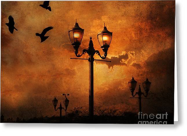 Surreal Fantasy Gothic Night Lanterns Ravens  Greeting Card by Kathy Fornal