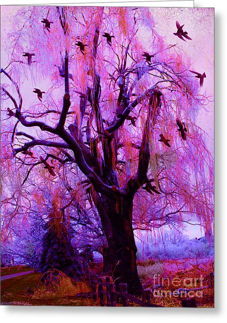 Surreal Fantasy Gothic Purple Pink Nature With Flying Ravens Greeting Card by Kathy Fornal