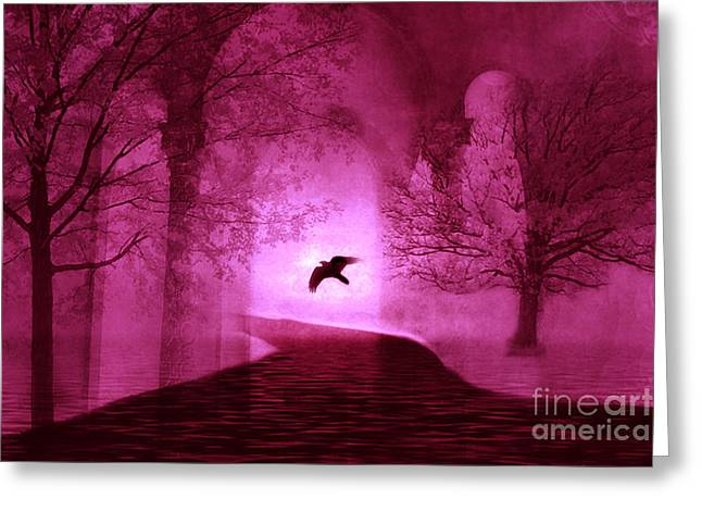 Surreal Fantasy Gothic Raven Crow Nature Greeting Card by Kathy Fornal