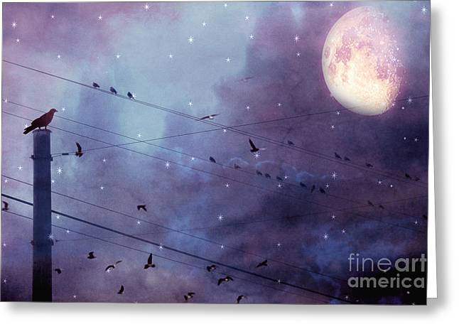 Surreal Fantasy Gothic Raven Moonlit Starry Night - Raven Birds On Powerline With Moon And Stars  Greeting Card by Kathy Fornal