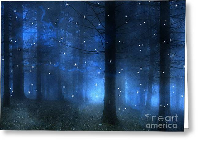 Surreal Fantasy Haunting Blue Sparkling Woodlands Forest Trees With Stars - Starlit Fantasy Nature Greeting Card by Kathy Fornal