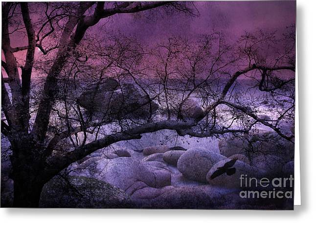 Surreal Fantasy Haunting Trees Nature - Purple Pink Nature Trees Rocks And Flying Raven Greeting Card by Kathy Fornal