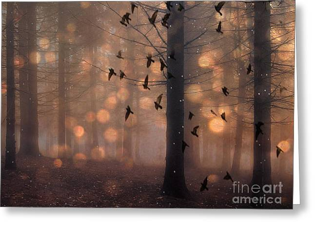 Surreal Fantasy Fairytale Haunting Woodlands Brown Surreal Nature Trees Birds Flying Greeting Card by Kathy Fornal