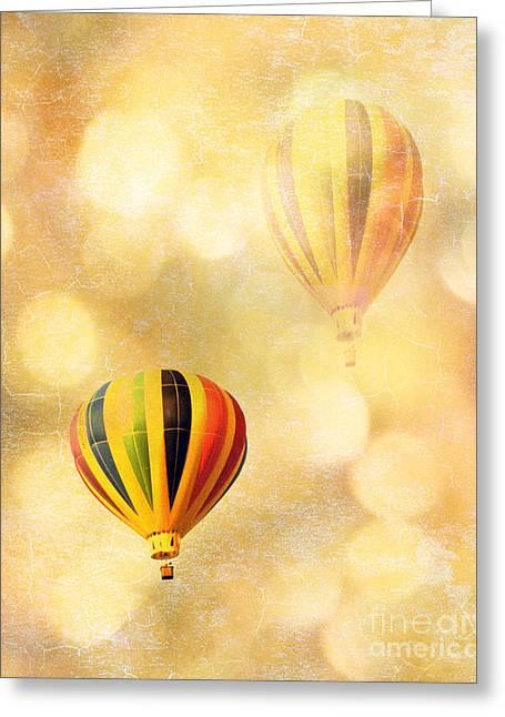 Surreal Fantasy Hot Air Balloon Dreamy Yellow Balloon Festival Art Greeting Card by Kathy Fornal