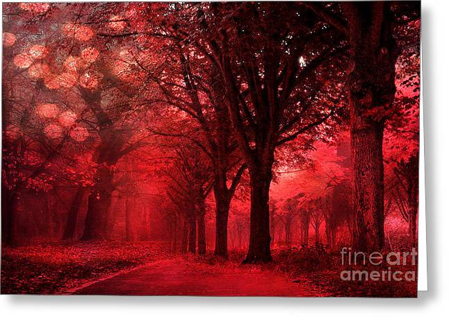 Surreal Fantasy Red Forest Woodlands Nature Greeting Card by Kathy Fornal
