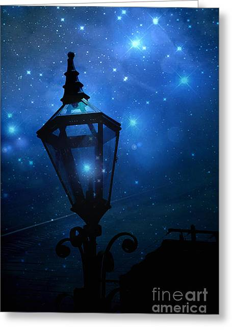 Surreal Fantasy Twinkling Sparkling Night Lantern With Stars And Sparkling Moon Light Greeting Card by Kathy Fornal