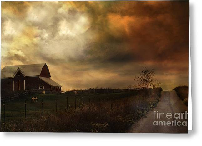 Surreal Fine Art Rural Barn Nature Country Road Landscape Greeting Card by Kathy Fornal
