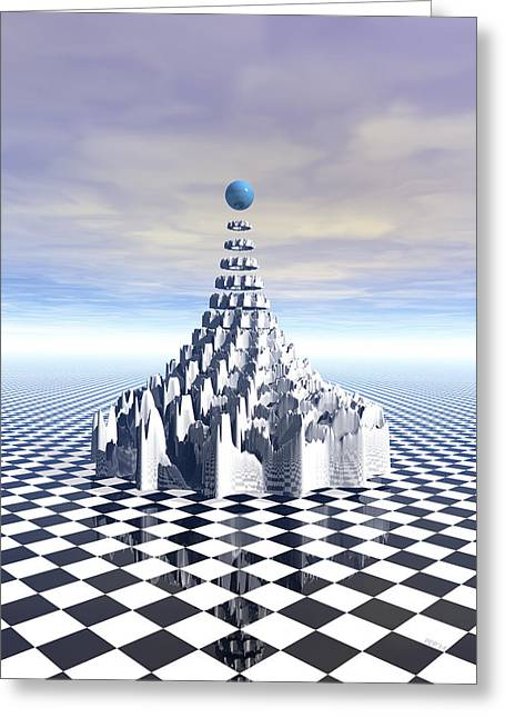 Surreal Fractal Tower Greeting Card by Phil Perkins