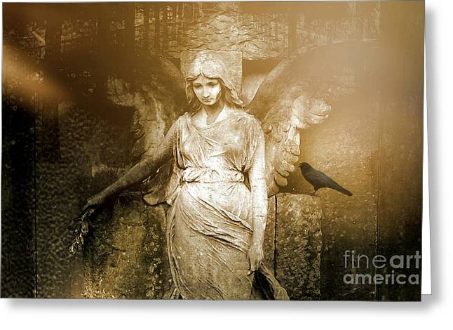 Surreal Gothic Angel Art Photography - Spiritual Ethereal Sepia Angel With Black Raven  Greeting Card by Kathy Fornal