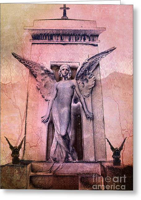 Ethereal Angel Art Greeting Cards - Surreal Gothic Angel With Gargoyles - Fantasy Angel and Gargoyles  Greeting Card by Kathy Fornal