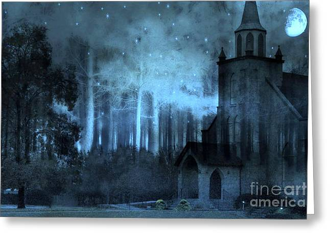 Surreal Gothic Church Full Moon And Stars Greeting Card by Kathy Fornal